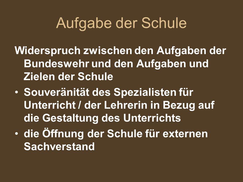 Aufgabe der Schule Widerspruch zwischen den Aufgaben der Bundeswehr und den Aufgaben und Zielen der Schule.