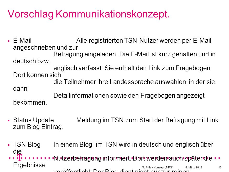 Vorschlag Kommunikationskonzept.