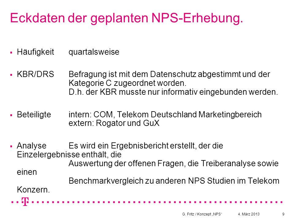 Eckdaten der geplanten NPS-Erhebung.