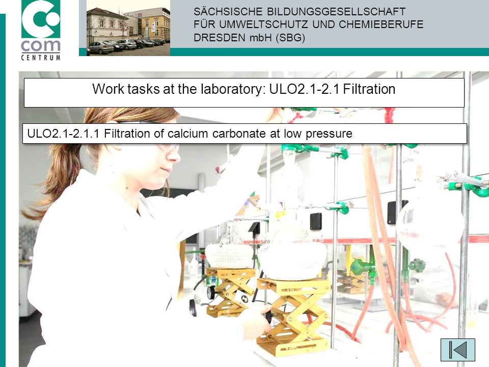 Work tasks at the laboratory: ULO2.1-2.1 Filtration