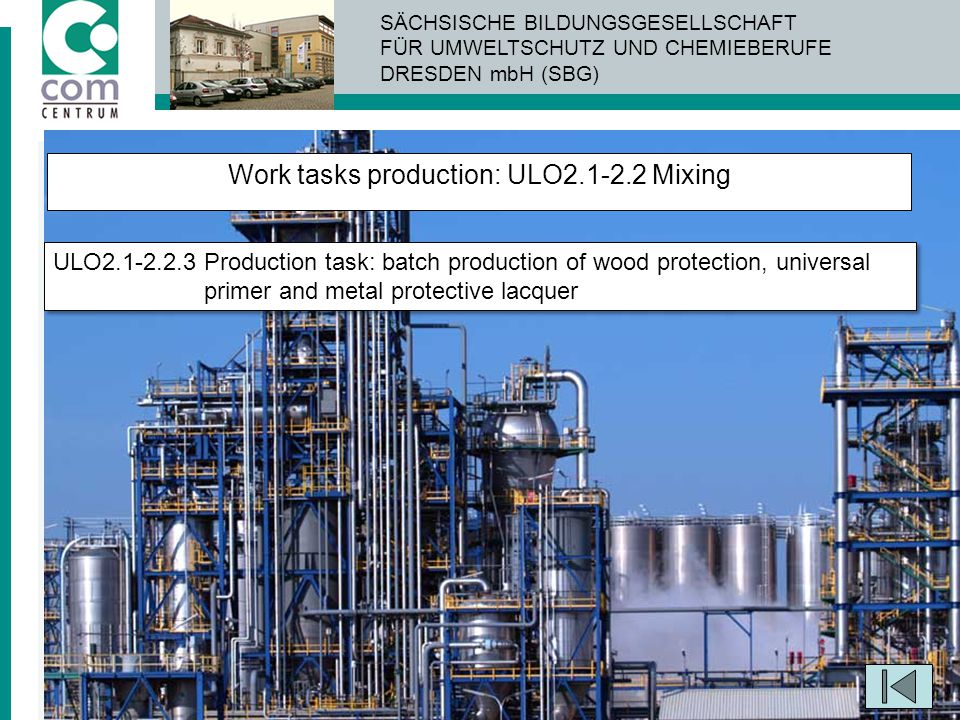 Work tasks production: ULO2.1-2.2 Mixing