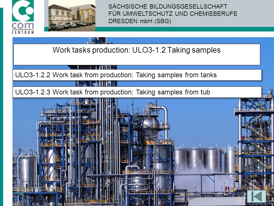 Work tasks production: ULO3-1.2 Taking samples