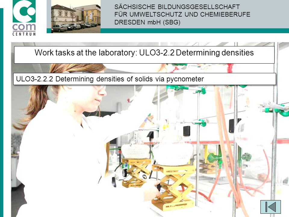 Work tasks at the laboratory: ULO3-2.2 Determining densities