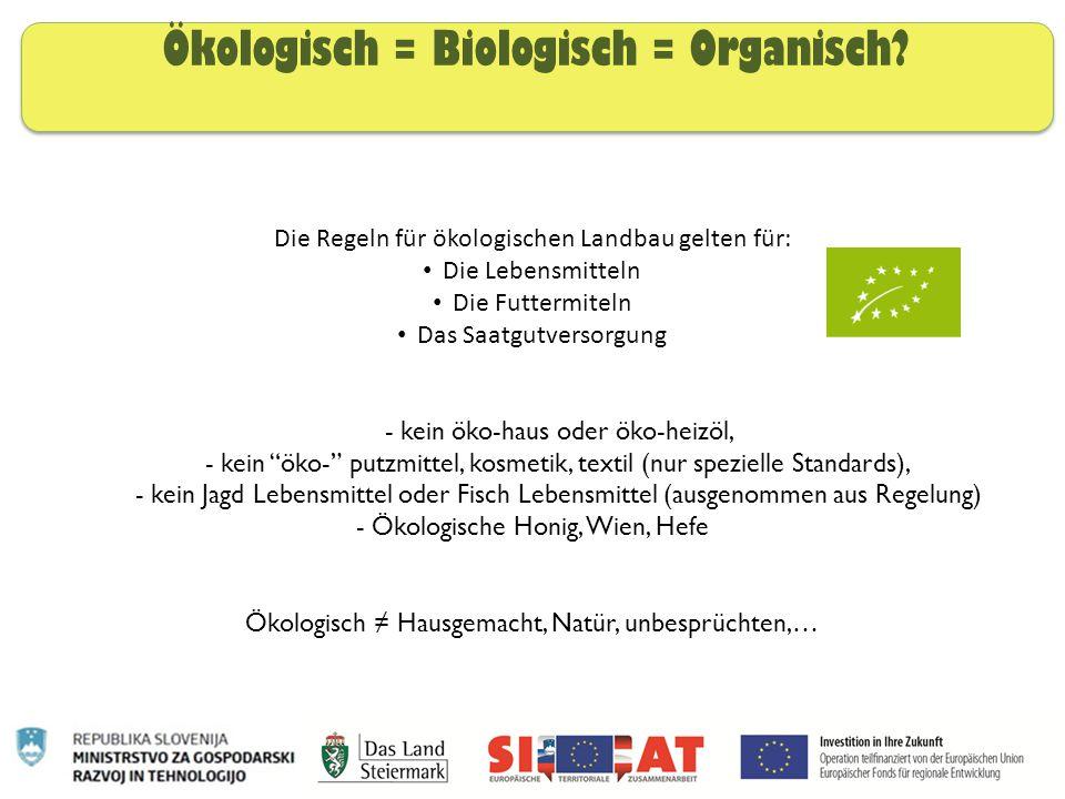 Ökologisch = Biologisch = Organisch