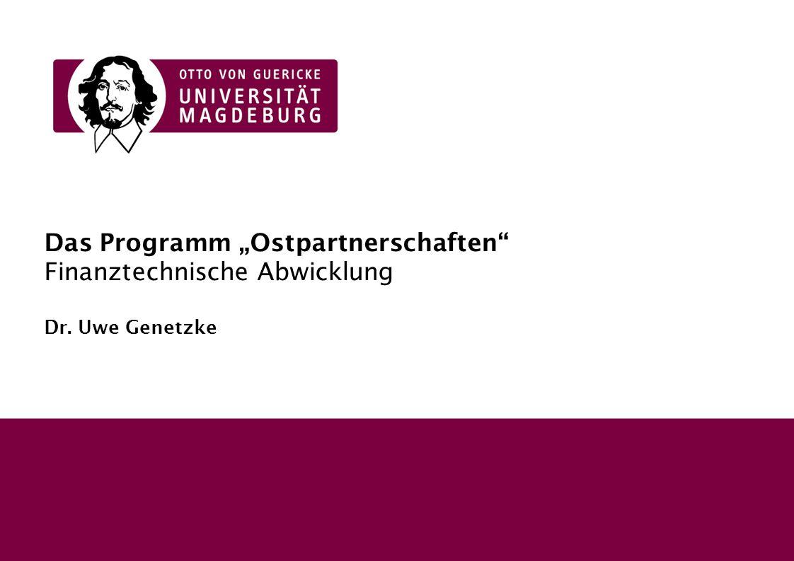 """Das Programm """"Ostpartnerschaften Finanztechnische Abwicklung Dr"""