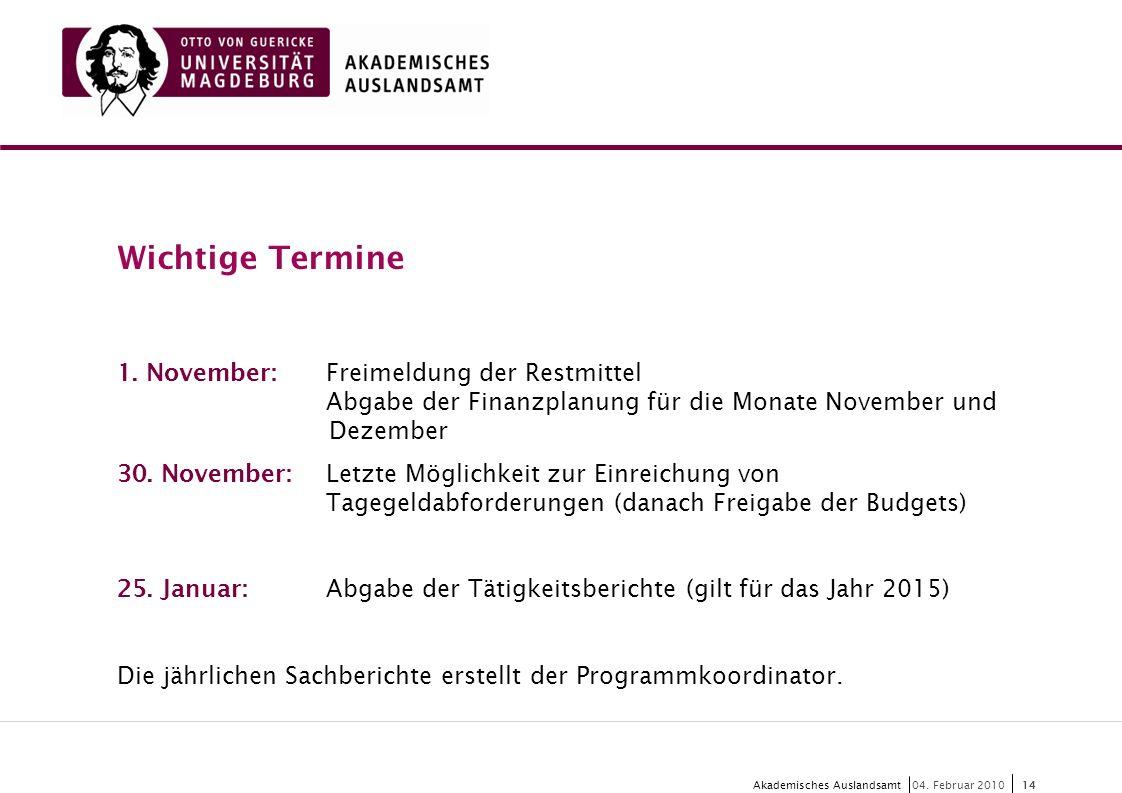 Wichtige Termine 1. November: Freimeldung der Restmittel Abgabe der Finanzplanung für die Monate November und Dezember.