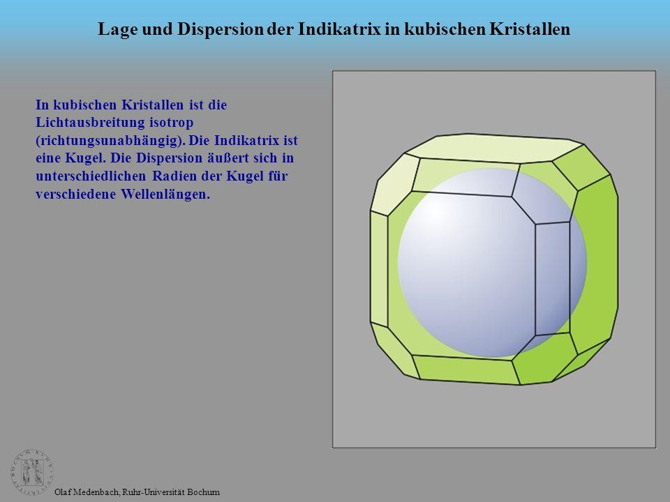 Lage und Dispersion der Indikatrix in kubischen Kristallen