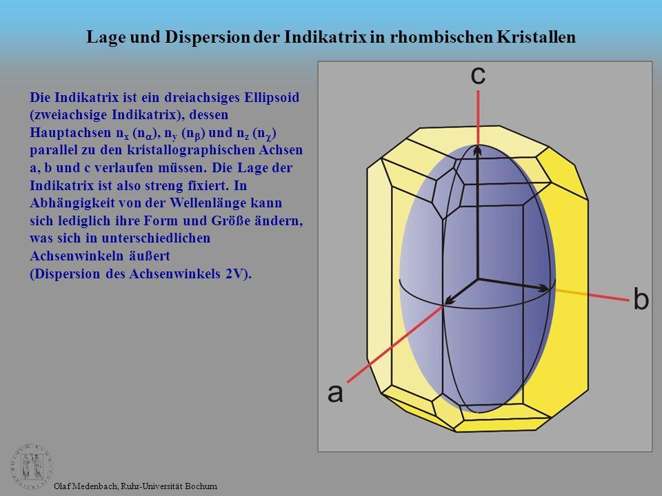 Lage und Dispersion der Indikatrix in rhombischen Kristallen