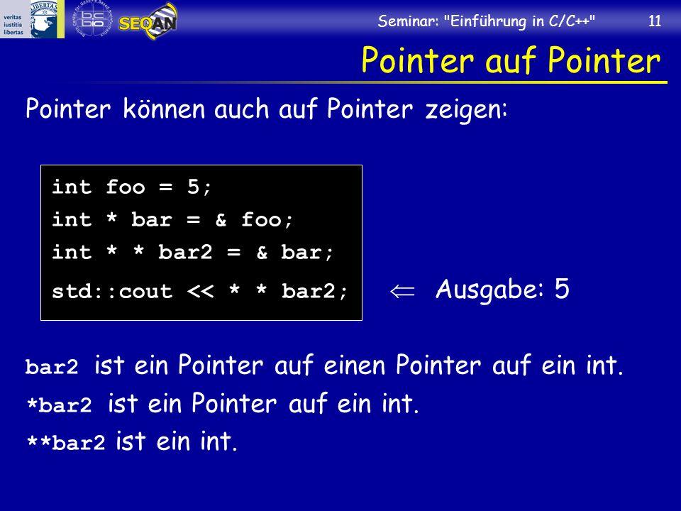 Pointer auf Pointer Pointer können auch auf Pointer zeigen: