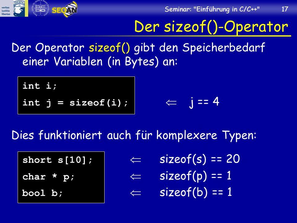 Der sizeof()-Operator