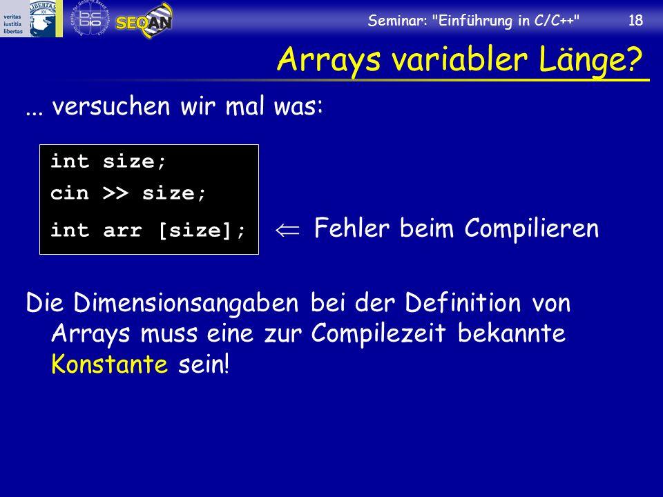 Arrays variabler Länge