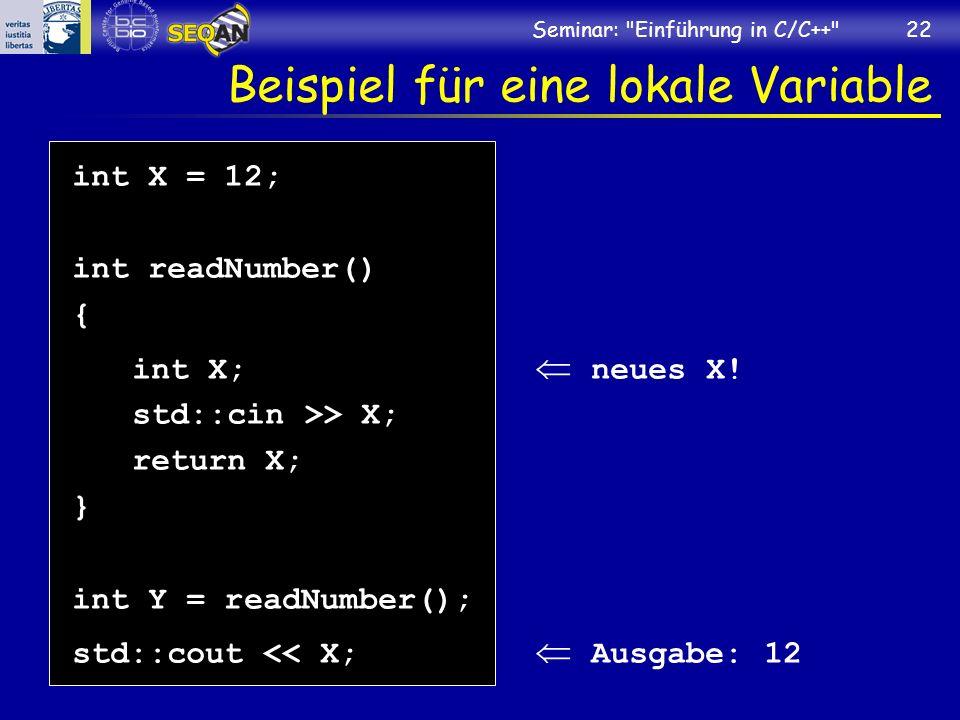 Beispiel für eine lokale Variable