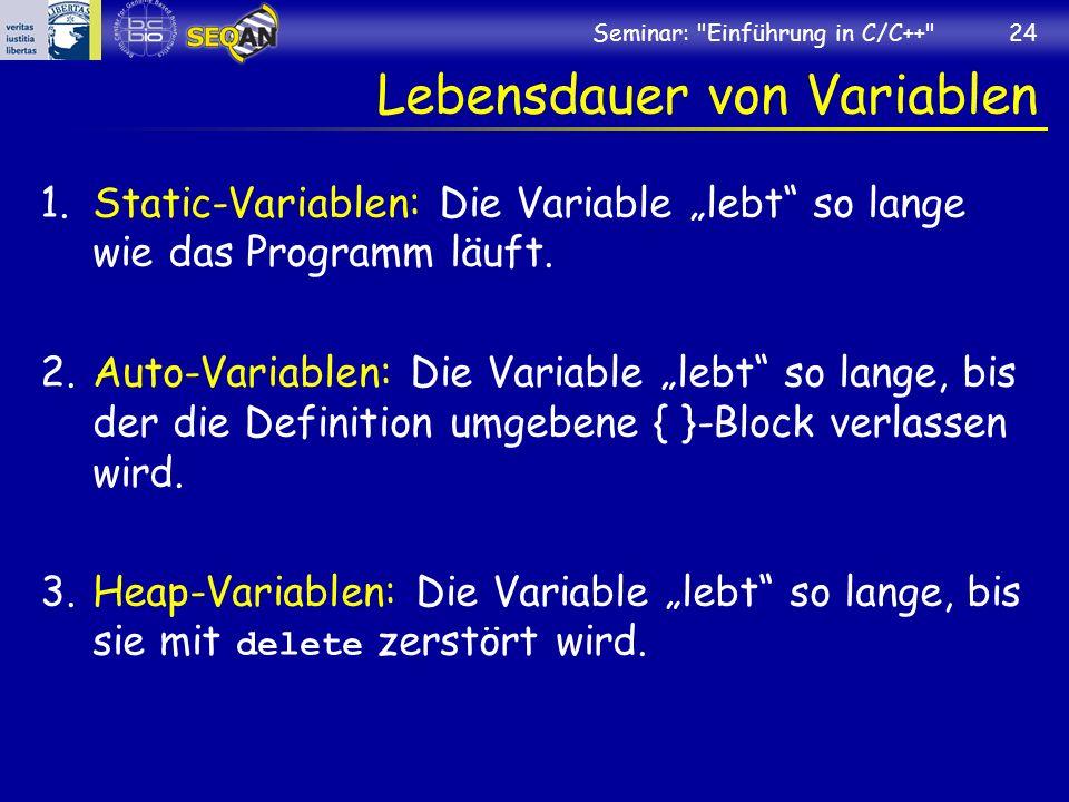 Lebensdauer von Variablen