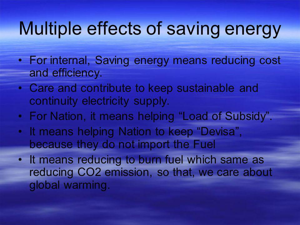 Multiple effects of saving energy