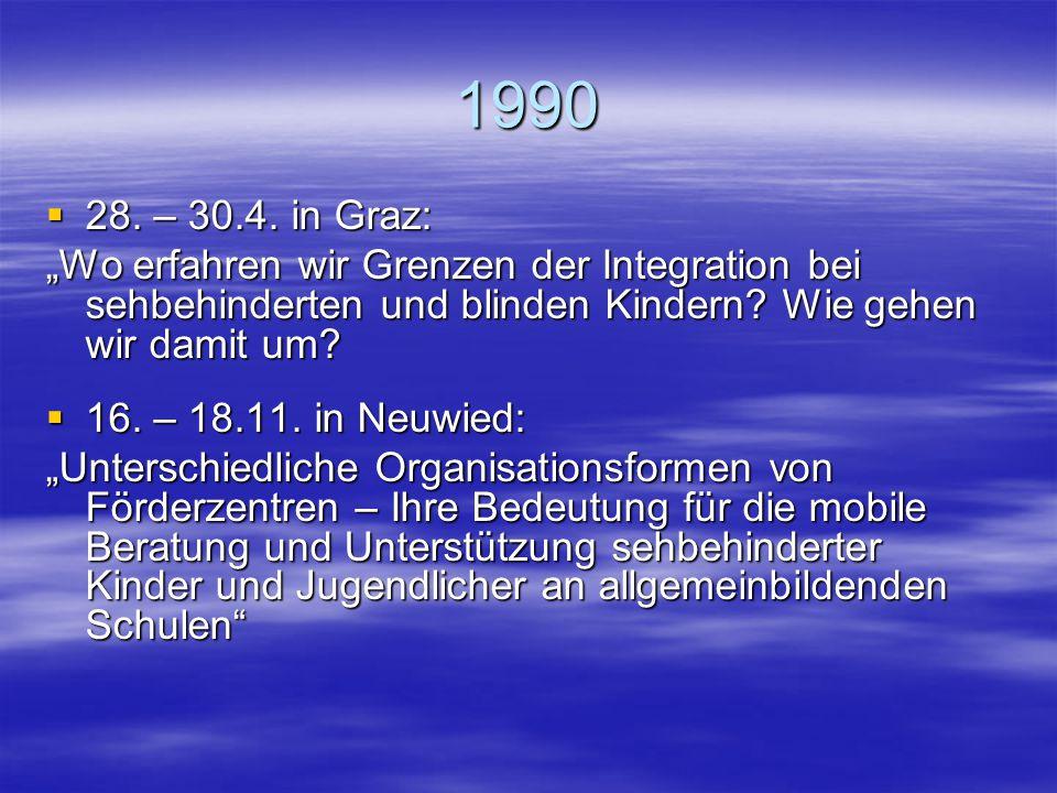 """1990 28. – 30.4. in Graz: """"Wo erfahren wir Grenzen der Integration bei sehbehinderten und blinden Kindern Wie gehen wir damit um"""