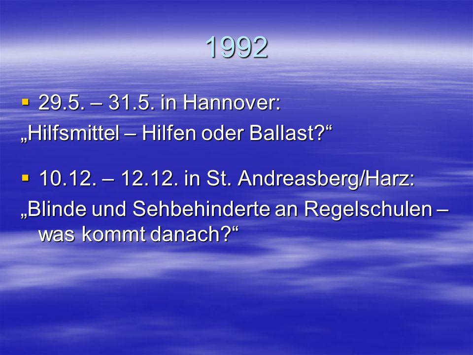 """1992 29.5. – 31.5. in Hannover: """"Hilfsmittel – Hilfen oder Ballast"""