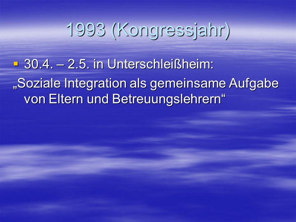 1993 (Kongressjahr) 30.4. – 2.5. in Unterschleißheim: