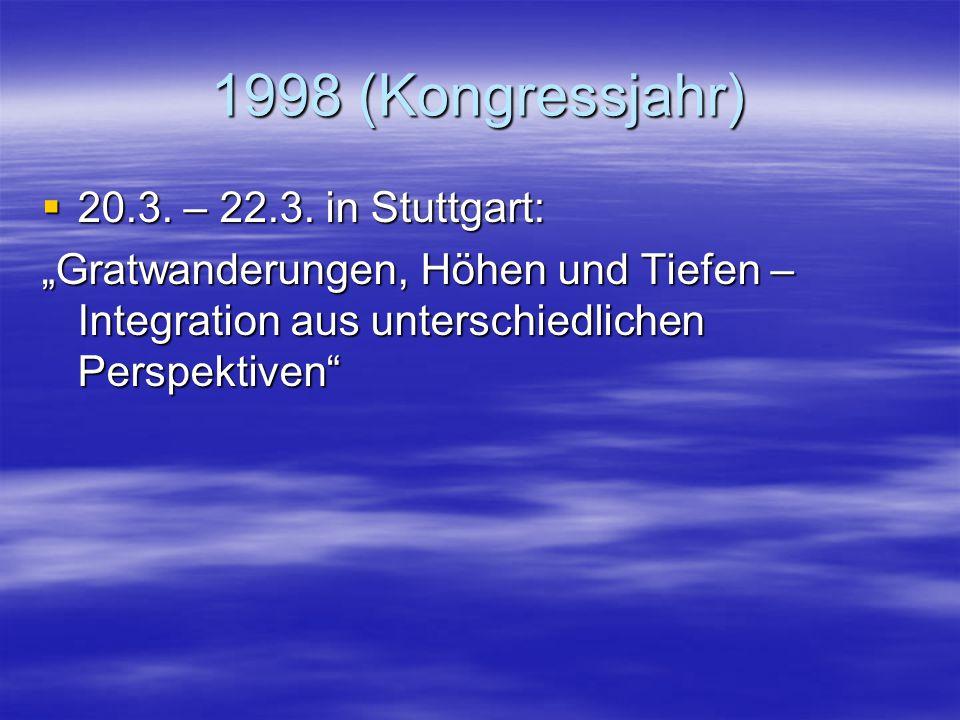 1998 (Kongressjahr) 20.3. – 22.3. in Stuttgart: