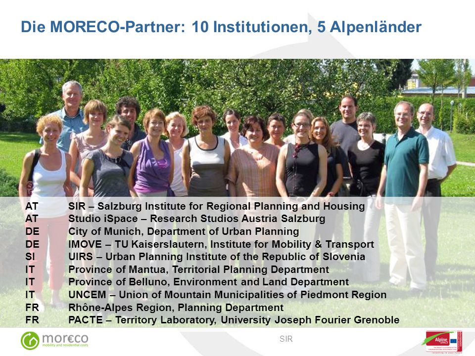 Die MORECO-Partner: 10 Institutionen, 5 Alpenländer