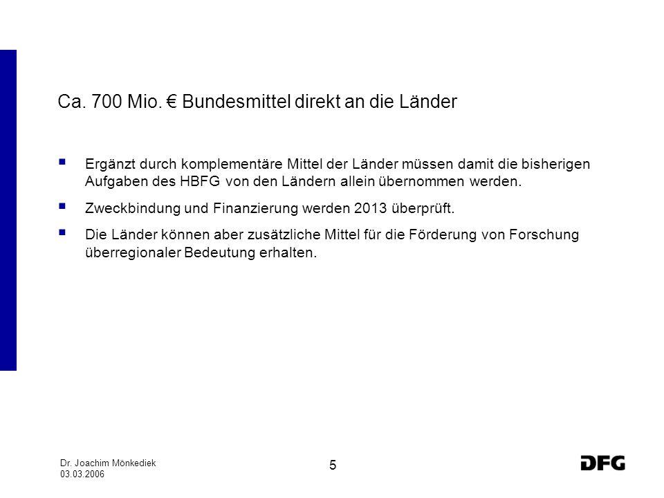 Ca. 700 Mio. € Bundesmittel direkt an die Länder