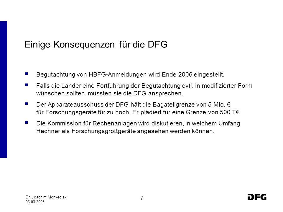 Einige Konsequenzen für die DFG