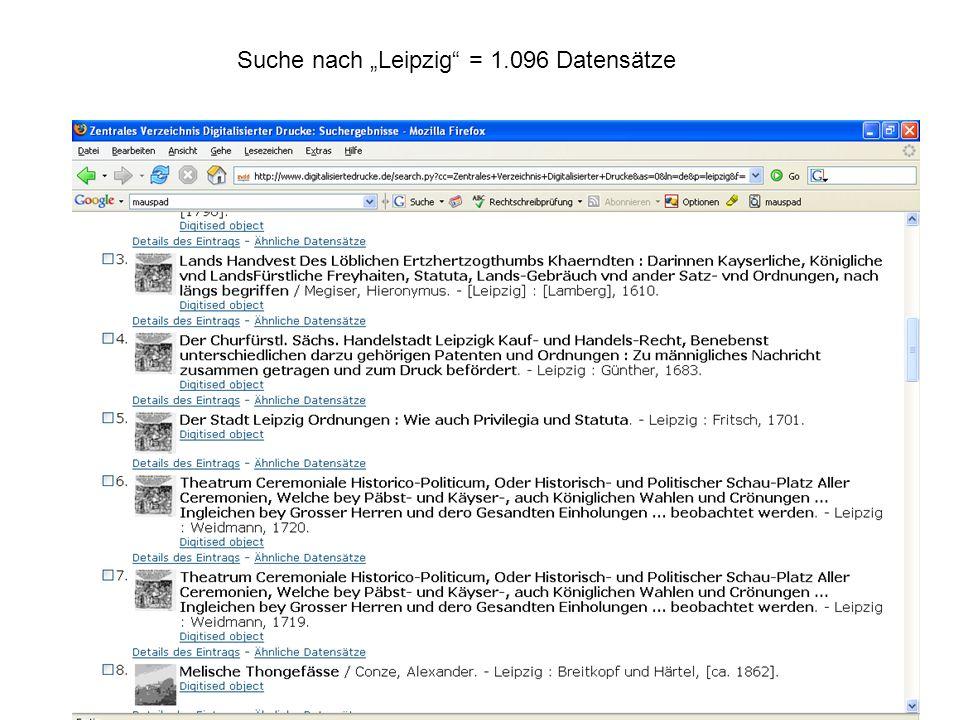 """Suche nach """"Leipzig = 1.096 Datensätze"""