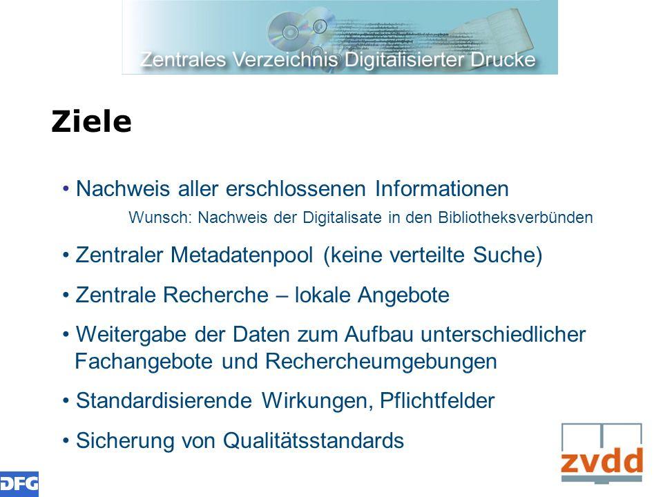 Ziele Nachweis aller erschlossenen Informationen Wunsch: Nachweis der Digitalisate in den Bibliotheksverbünden.