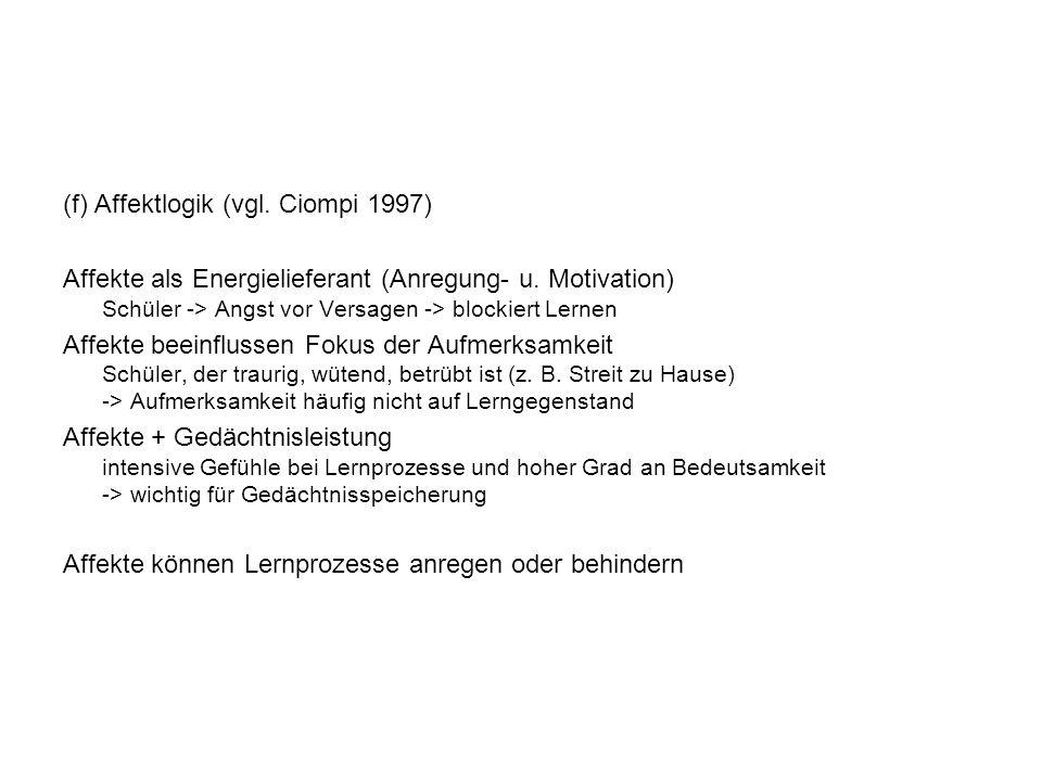 (f) Affektlogik (vgl. Ciompi 1997)