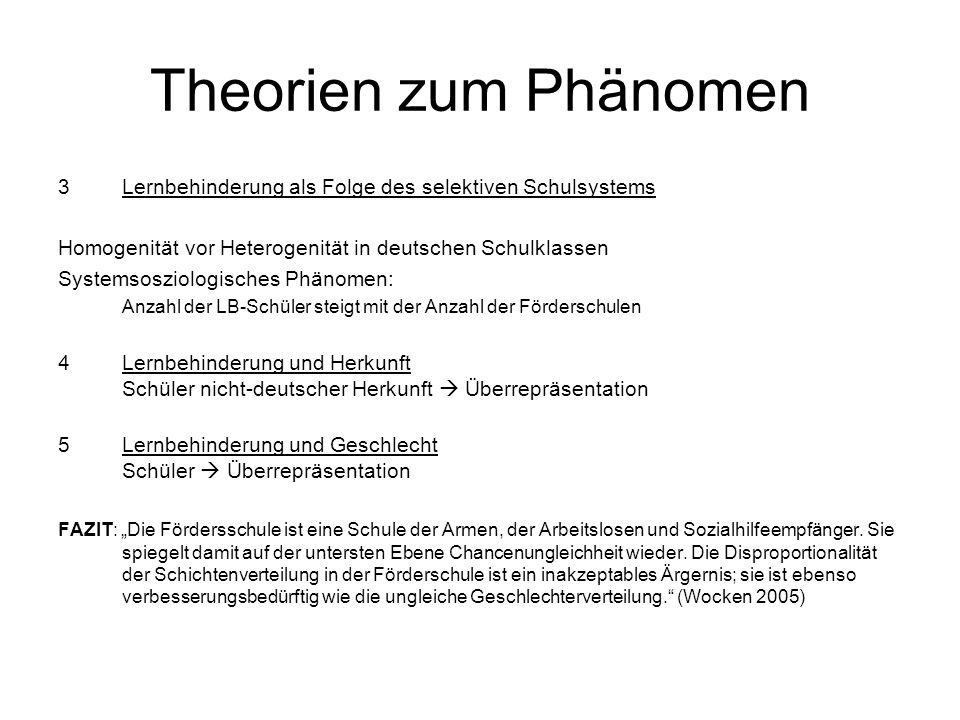 Theorien zum Phänomen Lernbehinderung als Folge des selektiven Schulsystems. Homogenität vor Heterogenität in deutschen Schulklassen.