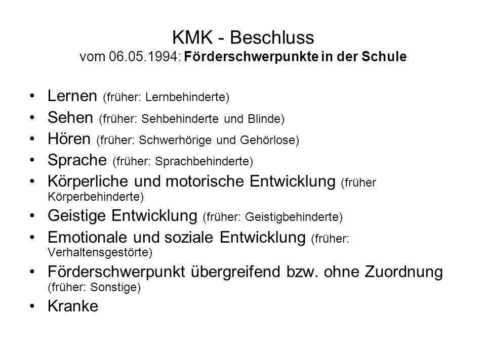 KMK - Beschluss vom 06.05.1994: Förderschwerpunkte in der Schule