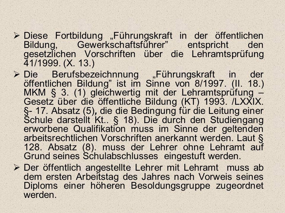 """Diese Fortbildung """"Führungskraft in der öffentlichen Bildung, Gewerkschaftsführer entspricht den gesetzlichen Vorschriften über die Lehramtsprüfung 41/1999. (X. 13.)"""
