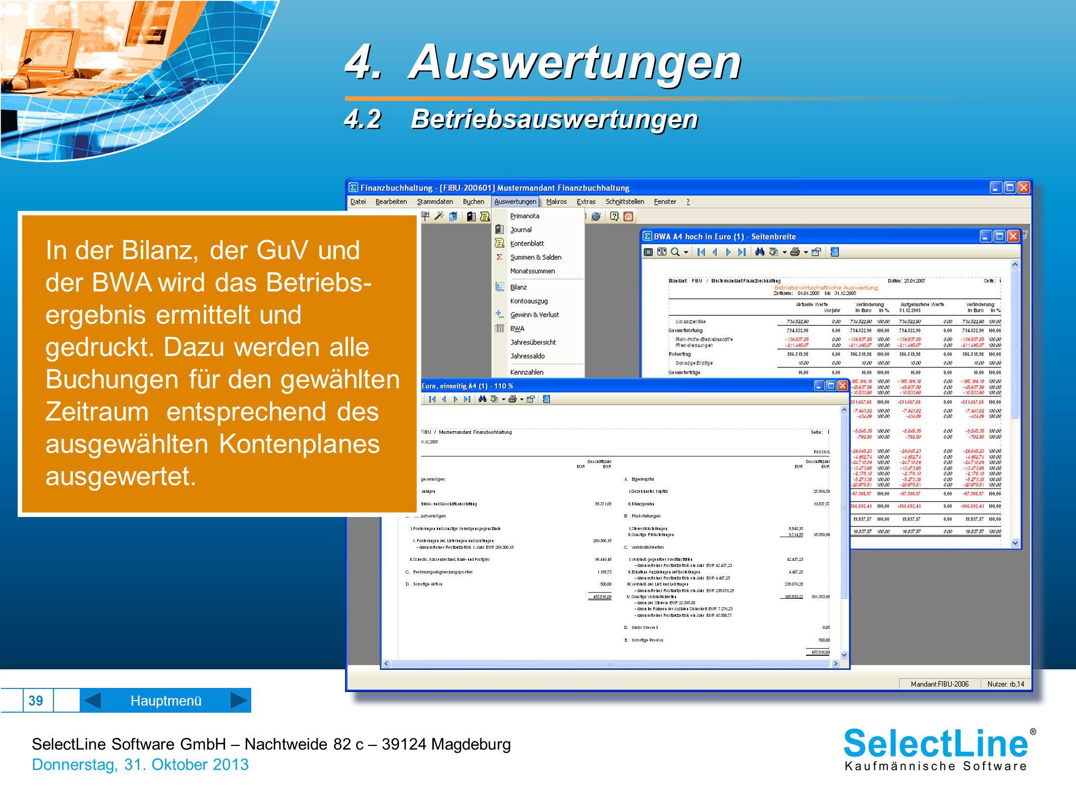 4. Auswertungen 4.2 Betriebsauswertungen