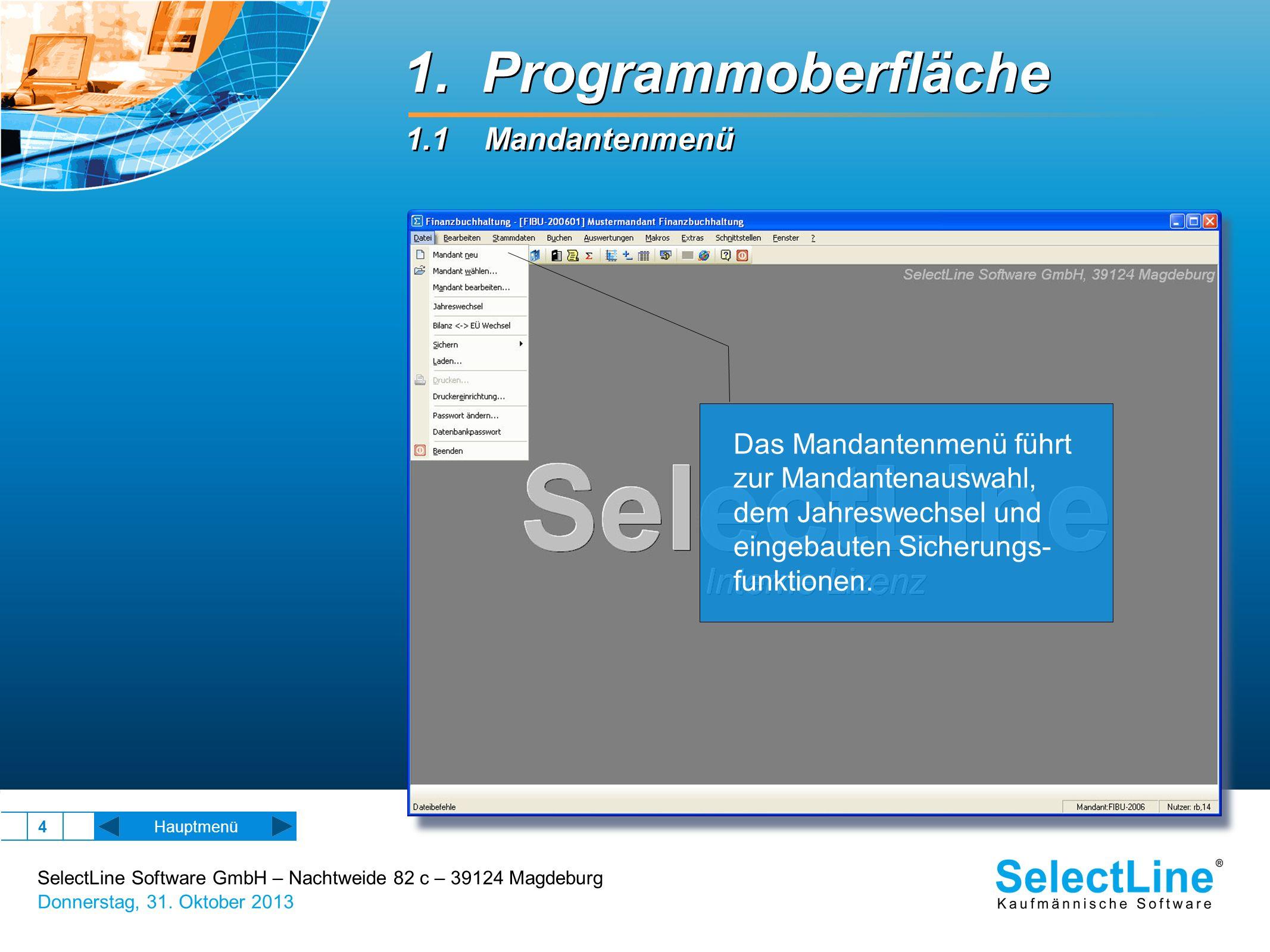 1. Programmoberfläche 1.1 Mandantenmenü