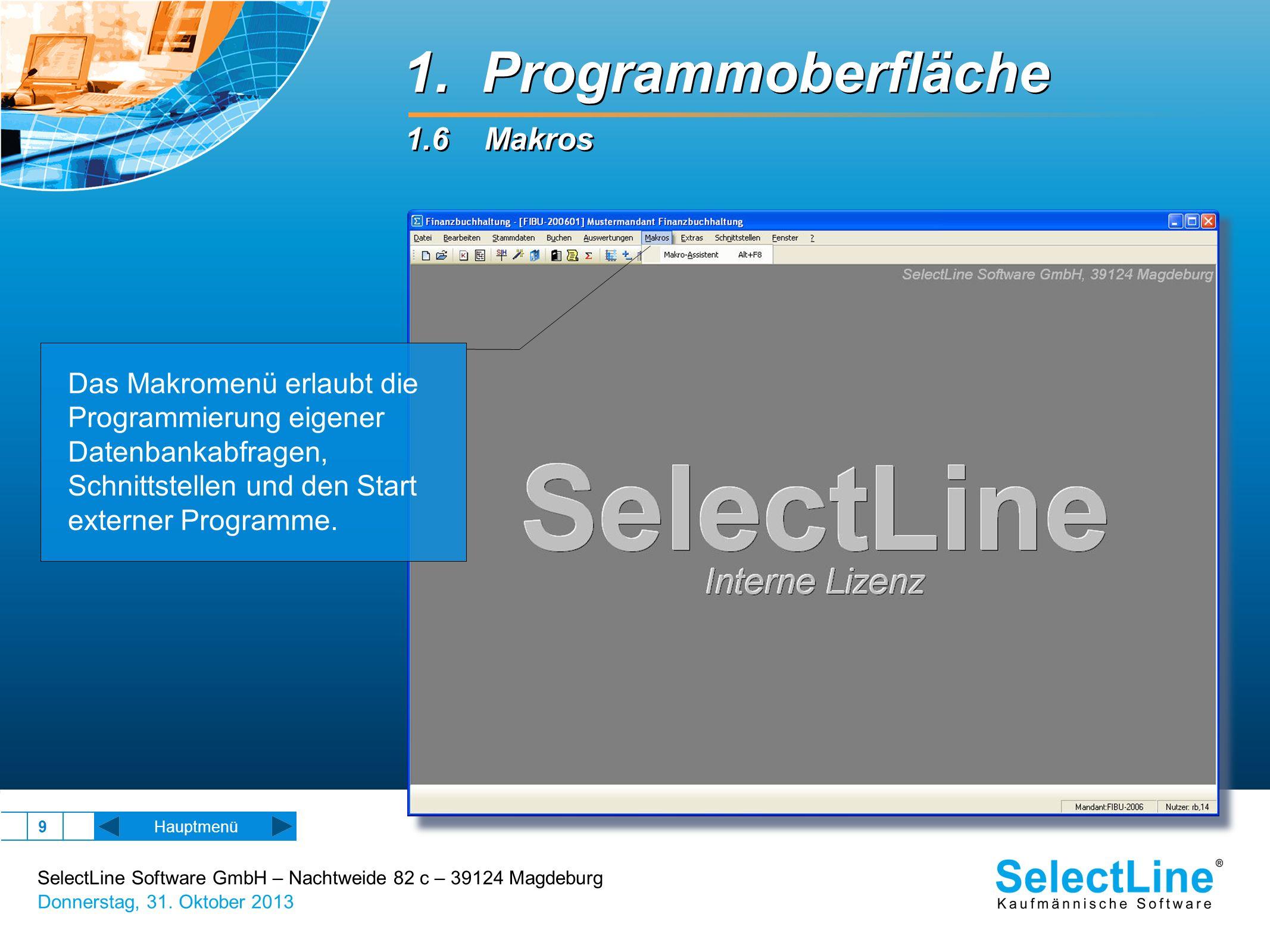 1. Programmoberfläche 1.6 Makros