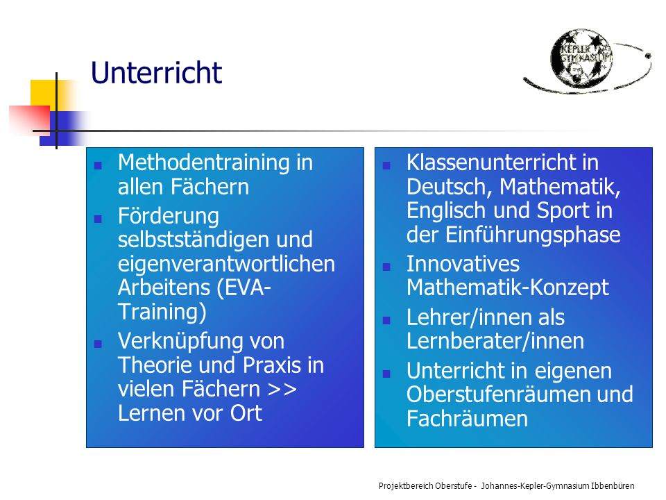 Unterricht Methodentraining in allen Fächern