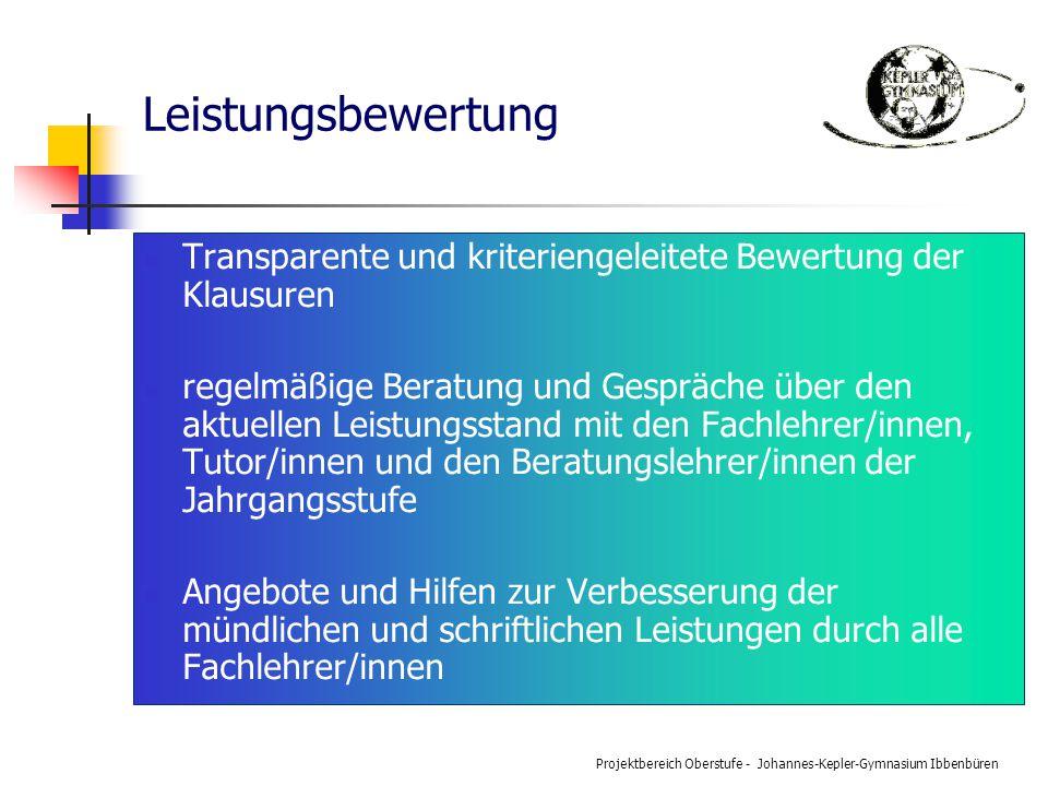Leistungsbewertung Transparente und kriteriengeleitete Bewertung der Klausuren.
