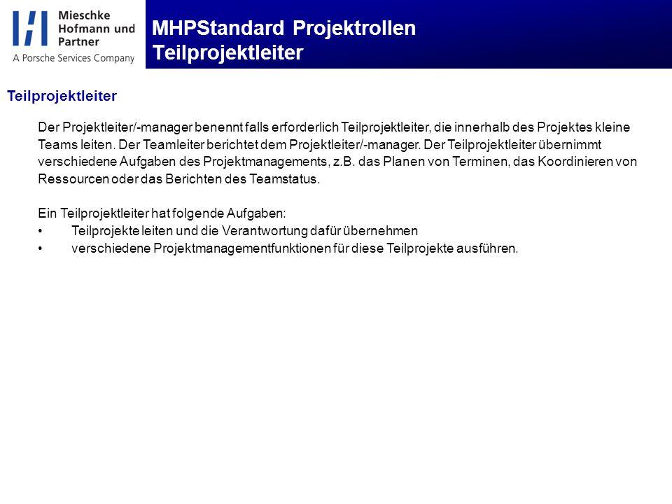 MHPStandard Projektrollen Teilprojektleiter