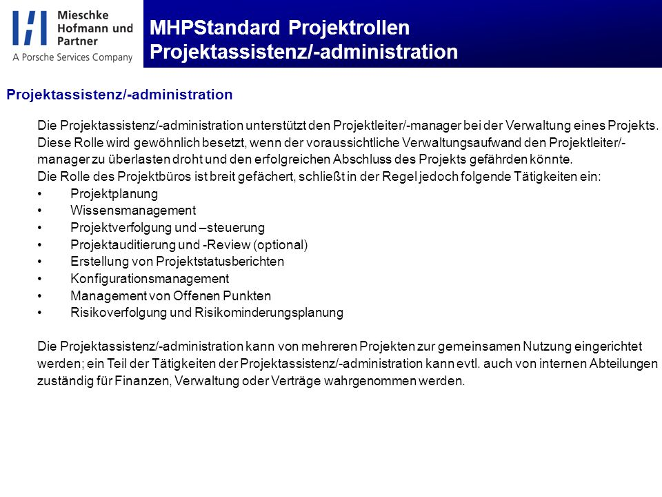 MHPStandard Projektrollen Projektassistenz/-administration