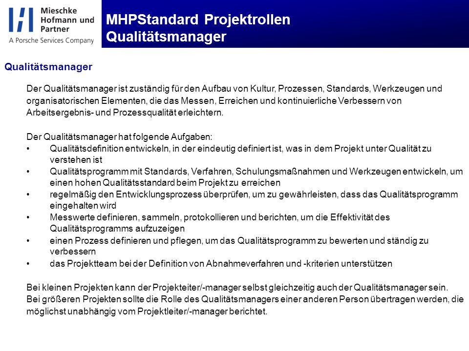 MHPStandard Projektrollen Qualitätsmanager