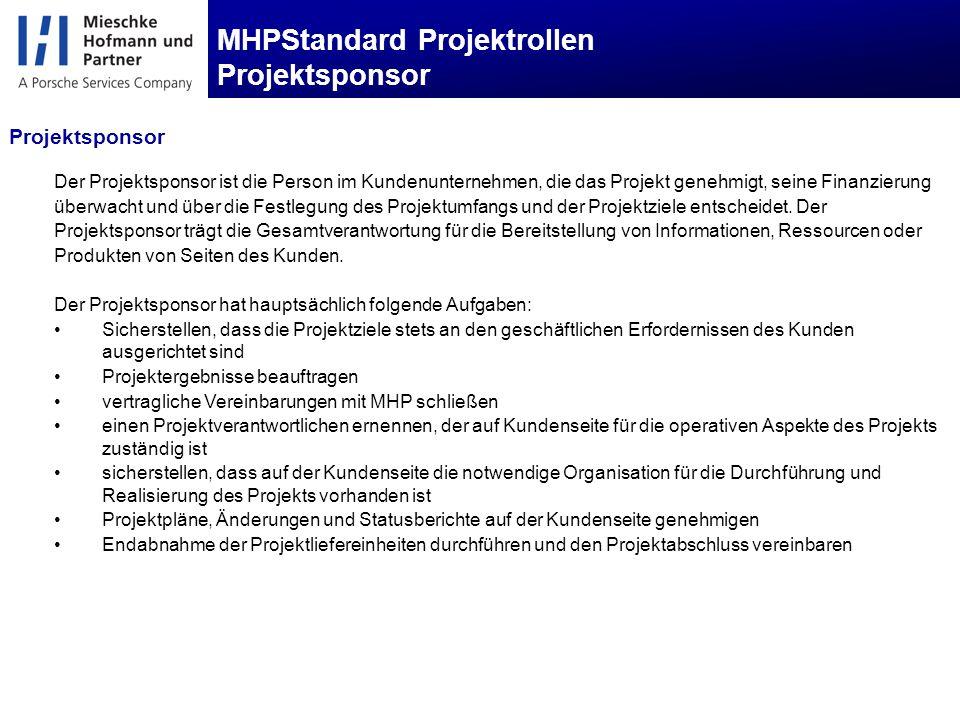 MHPStandard Projektrollen Projektsponsor