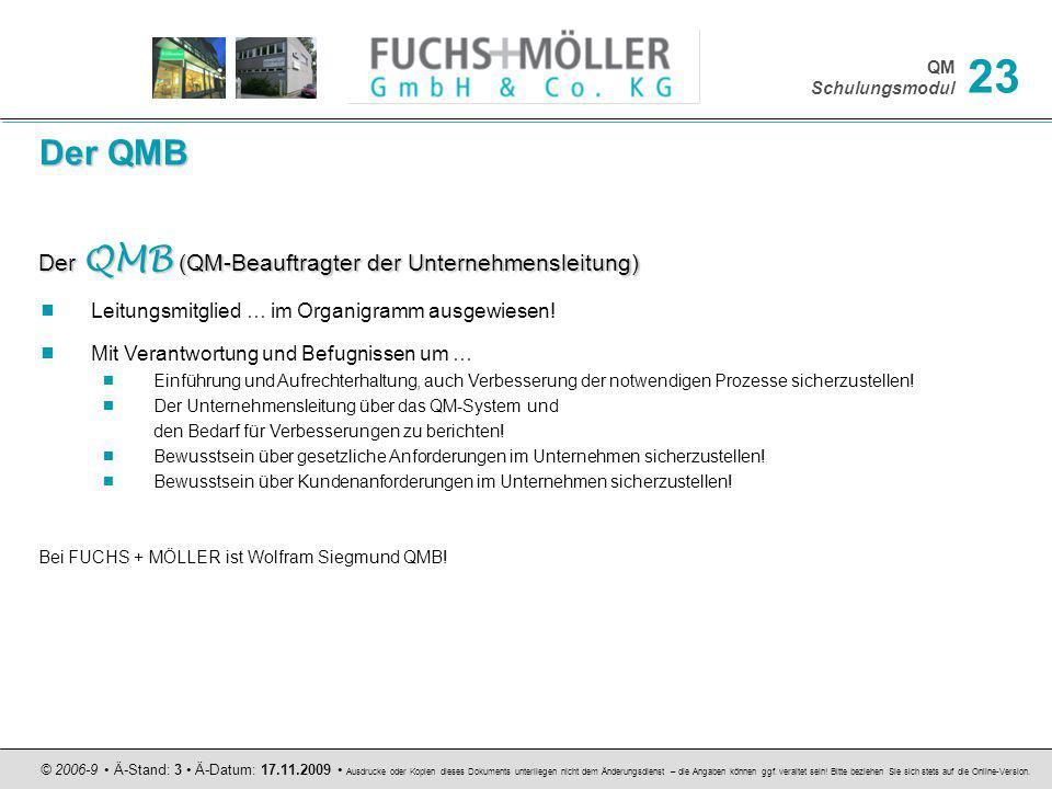 Der QMB Der QMB (QM-Beauftragter der Unternehmensleitung)
