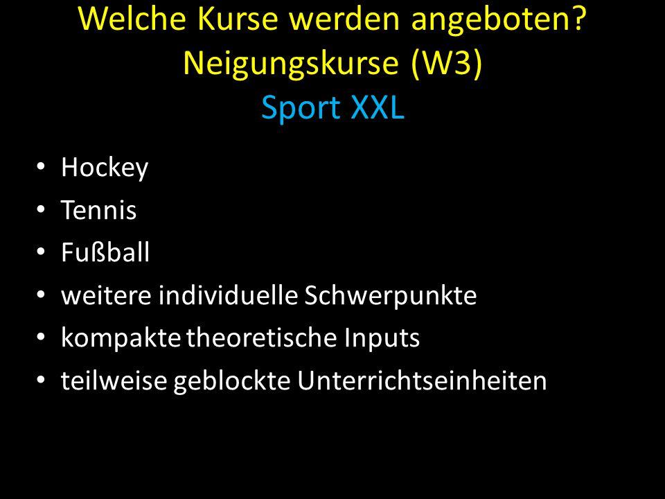Welche Kurse werden angeboten Neigungskurse (W3) Sport XXL