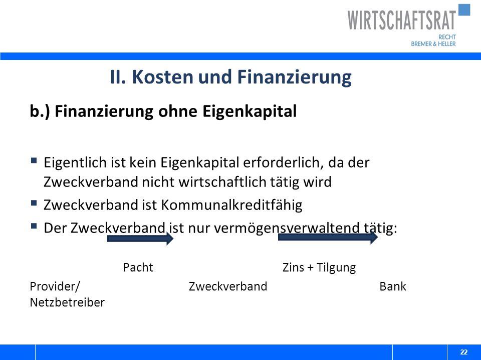 II. Kosten und Finanzierung