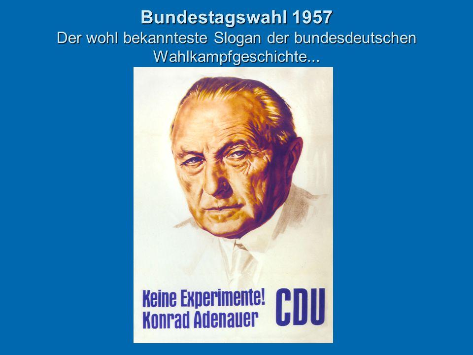 Bundestagswahl 1957 Der wohl bekannteste Slogan der bundesdeutschen Wahlkampfgeschichte...