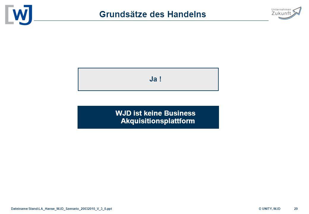 Grundsätze des Handelns WJD ist keine Business Akquisitionsplattform