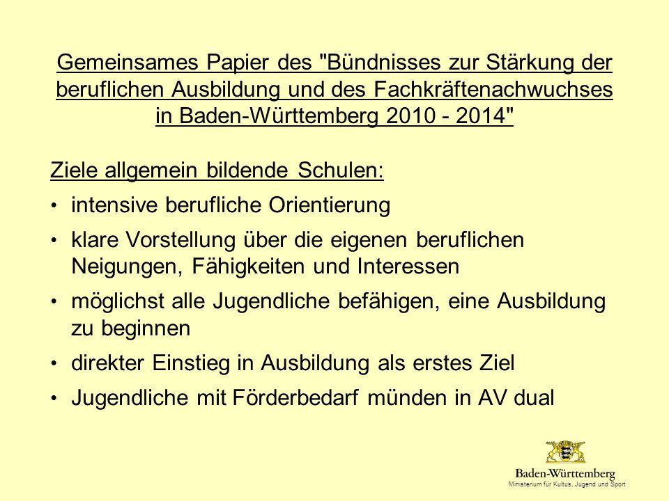 Gemeinsames Papier des Bündnisses zur Stärkung der beruflichen Ausbildung und des Fachkräftenachwuchses in Baden-Württemberg 2010 - 2014