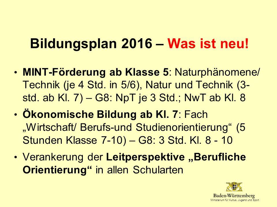 Bildungsplan 2016 – Was ist neu!