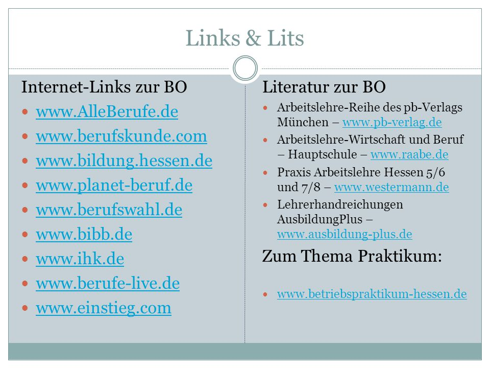 Links & Lits Internet-Links zur BO www.AlleBerufe.de