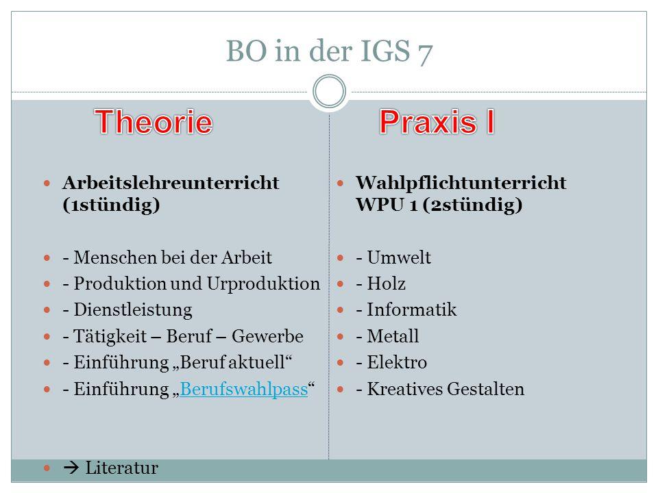 Theorie Praxis I BO in der IGS 7 Arbeitslehreunterricht (1stündig)