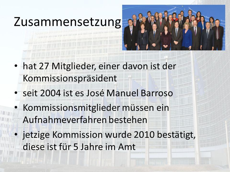 Zusammensetzung hat 27 Mitglieder, einer davon ist der Kommissionspräsident. seit 2004 ist es José Manuel Barroso.